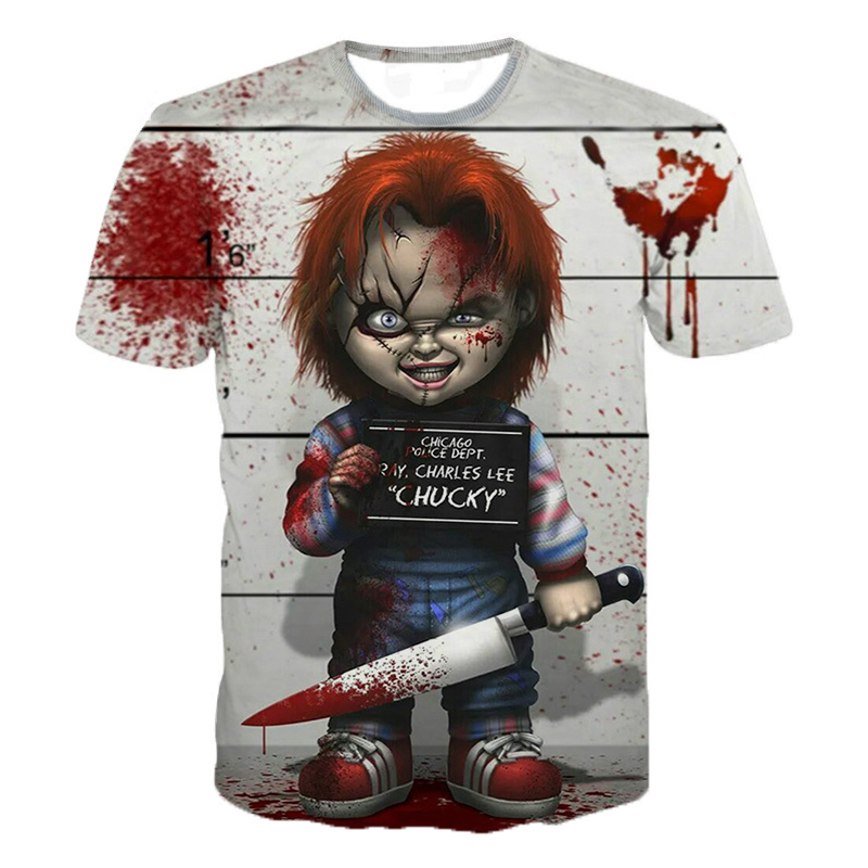 Horror Movie Child Of Play Character Chucky 3D Printed T-shirt Men Women Summer Fashion Casual T Shirt IT Clown Funny Tee Tops