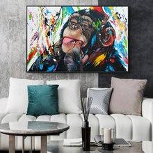 Картина на холсте с изображением милой обезьяны граффити уличный