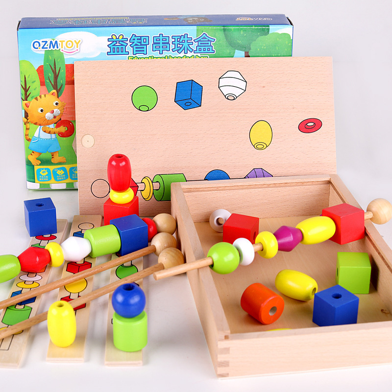 Children Wooden Educational Beaded Box Profession Montessori Teaching Aids Color Shape Cognitive Learning Hand-Eye Coordination