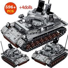 596 pces cidade polícia aço império-alemão iv tanque blocos de construção para militares ww2 soldados tijolos educação brinquedos para meninos