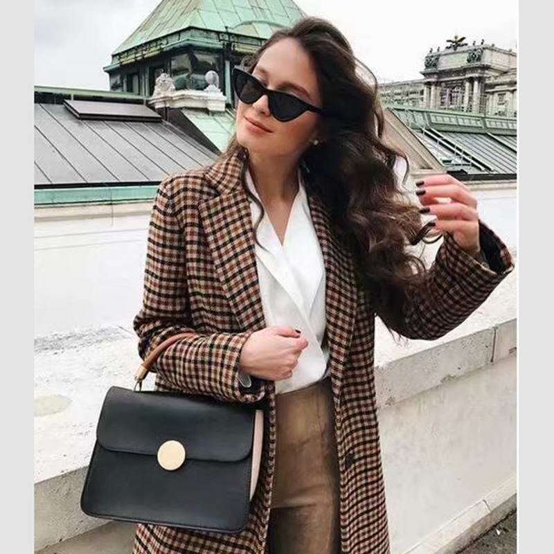 2019 Autumn And Winter ZA Suit Jacket Women's Plaid Casual Fashion Slim Stitching Long-sleeved Commuter Small Suit Jacket Wild