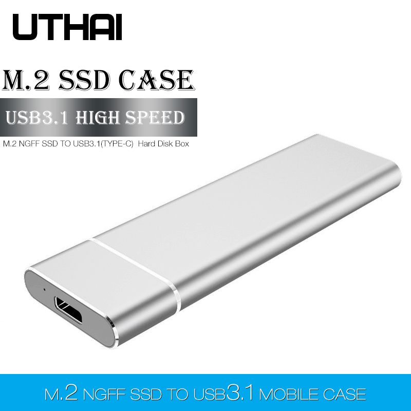 UTHAI T24 USB3.1 Type C to M.2 NGFF <font><b>SSD</b></font> Enclosure <font><b>M2</b></font> to USBC Mobile Hard Disk <font><b>Box</b></font> HDD Case For 2230/2242/2260/2280 <font><b>M2</b></font> With Cable image