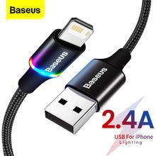 Baseus LED kabel USB dla iPhone 12 11 Pro Xs Max X Xr 8 7 6 6S szybka ładowarka telefon komórkowy kabel danych dla iPad przewód tanie tanio Rohs LIGHTNING 2 4A CN (pochodzenie) USB A Ze wskaźnikiem LED Aluminum shell + High-density nylon braid 0 25M 0 5M 1M 2 4A 2M 3M 1 5A