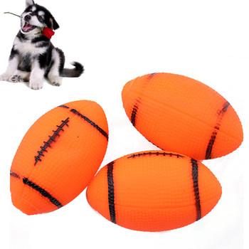 Psy domowe brzmiące zabawki do żucia piskliwy zabawki dla psów szczenięta piłka nożna piłka nożna psów piłka szkolenia Rugby 1pc tanie i dobre opinie RUBBER Squeak zabawki YWX386