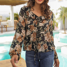 Women Holiday Blouse Flower Printed Long-sleeved Chiffon Shirt Floral Long Sleeve V-Neck Vintage Blouse Beach Sunscreen Tops