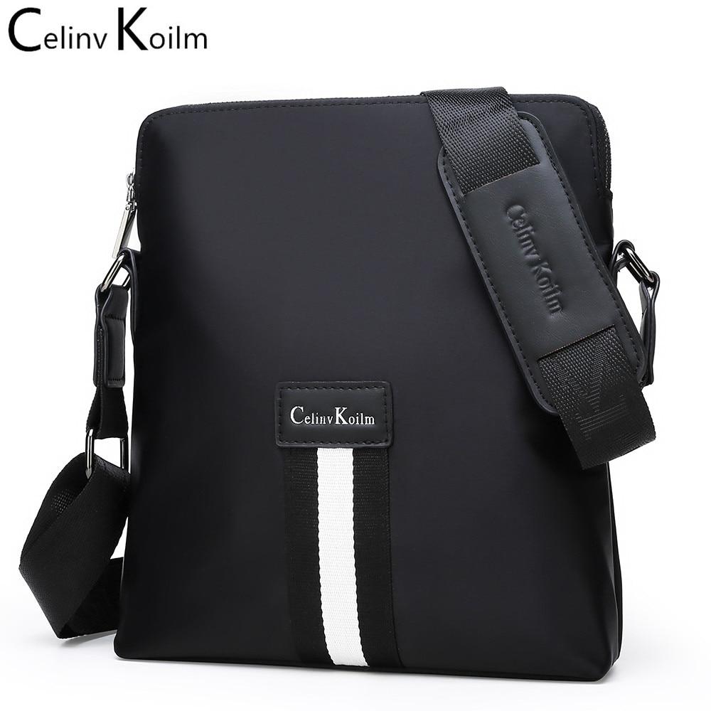 CeIinv Kilom Brand Men Messenger Bag Business Shoulder Waterproof nylon Vintage Crossbody office work Satchel Bag For iPad Black
