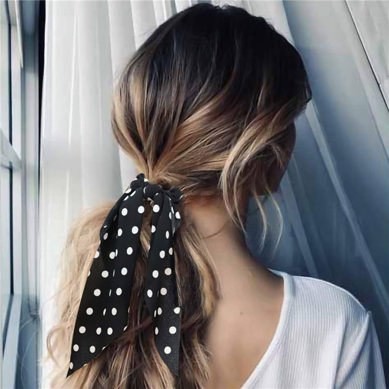 Fashion Polka Dot Women Hair Rope Ties Streamers Bowknot Scrunchie Ribbon Bands Sweet Girls Hair Accessories Elastic Hair Bands