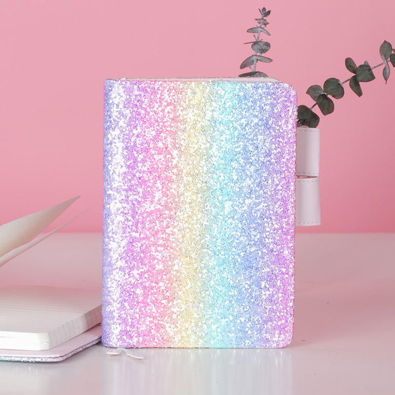 Rainbow Notebook And Journal A6 Diary Note Book Spiral Agenda Planner Organizer Back To School Travel Sequin Handbook Notepad