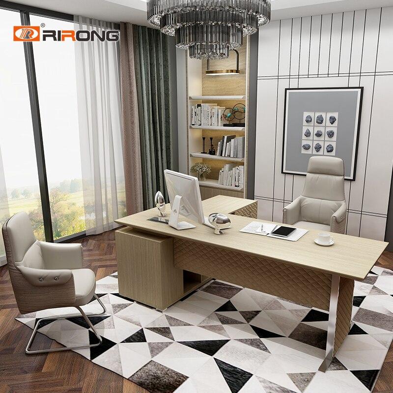 Elegant Modern Design Home Office Study Furniture Leather Wooden 1.4 1.6 Meter Lady Design Study Table Desk Furniture
