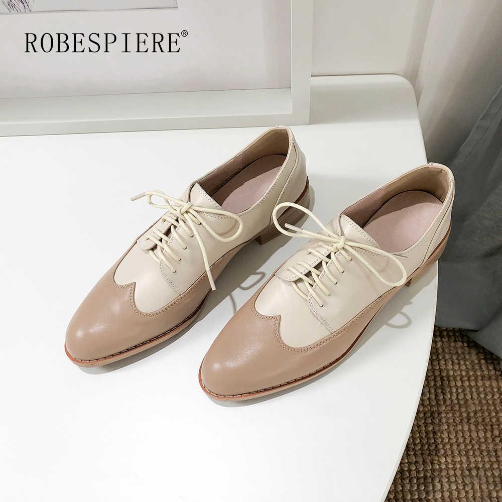 ROBESPIERE mujer Oxford zapatos planos de primavera mujer cuero genuino zapatos Brogues Vintage cordones mocasines Casual zapatos de gran tamaño A132