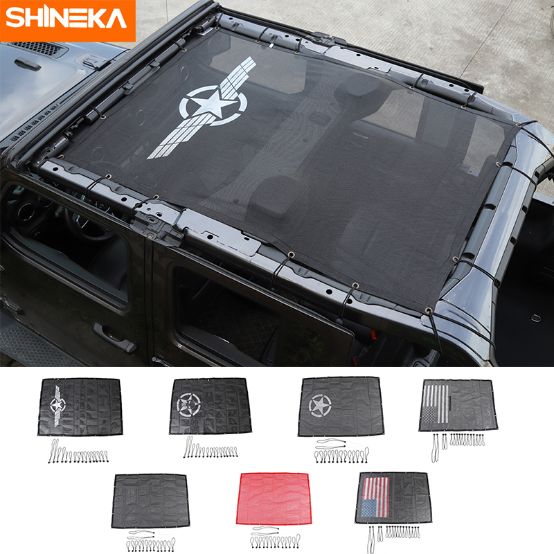 SHINEKA Car Cover For Jeep Wrangler JL Accessoire Sunshade Cover Roof UV Proof Net Trunk Shading Net For Jeep Wrangler JL 2018+