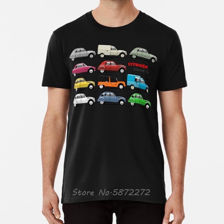 Citro?n 2CV variété T shirt citroen 2cv deux chevaux deuxchevaux type az charleston classique t-shirt hommes coton t-shirts hauts Harajuku
