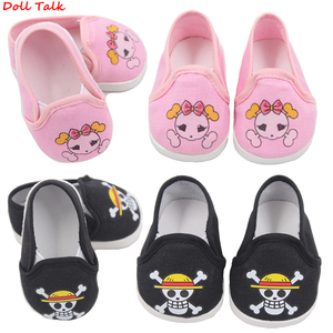 Image 2 - Cute Doll Shoes 7cm High quality Bow Cartoon Skull Pattern Mini Shoes For 18 Inch American And Baby New Bron Dolls Toy 1/3 BJD