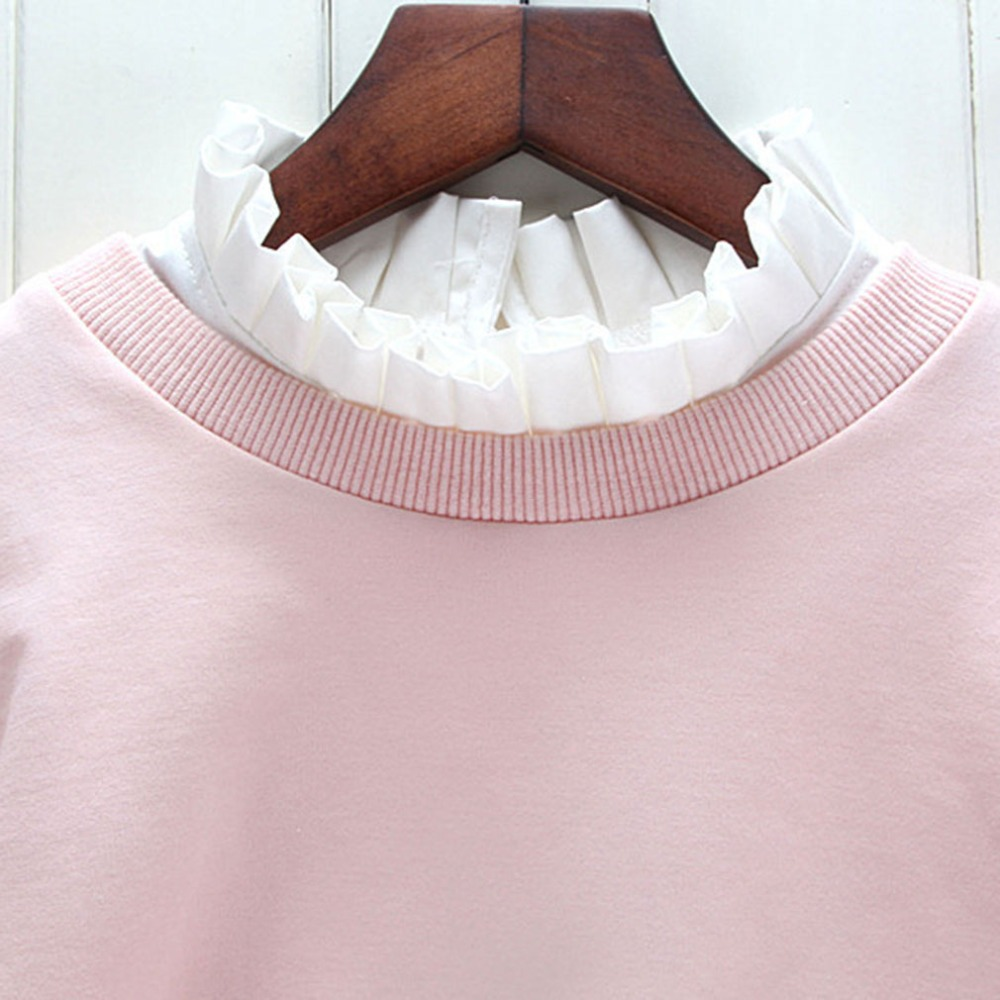 Petal Embroidery Shirt Fake Collar White Tie Vintage Detachable Collar False Collar Lapel Blouse Top Women Clothes Accessories
