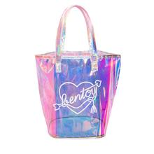 Women Laser Jelly Hand Bag Casual Tote Mesh Handbag Transparent Clear PVC Candy Shoulder Bags Waterproof Travel Shopping