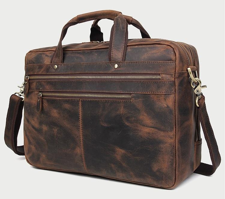 MAHEU Vintage Leather Men Briefcase With Belt On Travel Case Cowskin Mens Business Bag Double Layer Crazy Horse Leather Men Bag
