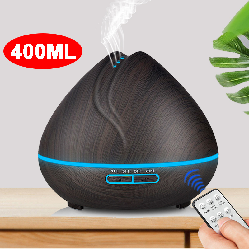 400ml Remote Control  Aroma Essential Oil Diffuser Ultrasonic Air Humidifier With Wood Grain LED Lights For Office Home