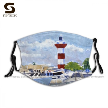 Wholesale Protector Boats In Harbour Town Face Mask Funny Polyester Adult Mouth Facial Mask With Filters image