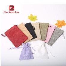 9*12 Cm Giả Vải Lanh Bó Túi Cưới Ngày Lễ Giáng Sinh Tặng Túi Đựng Trang Sức Hạt Lanh Túi 100 Chiếc
