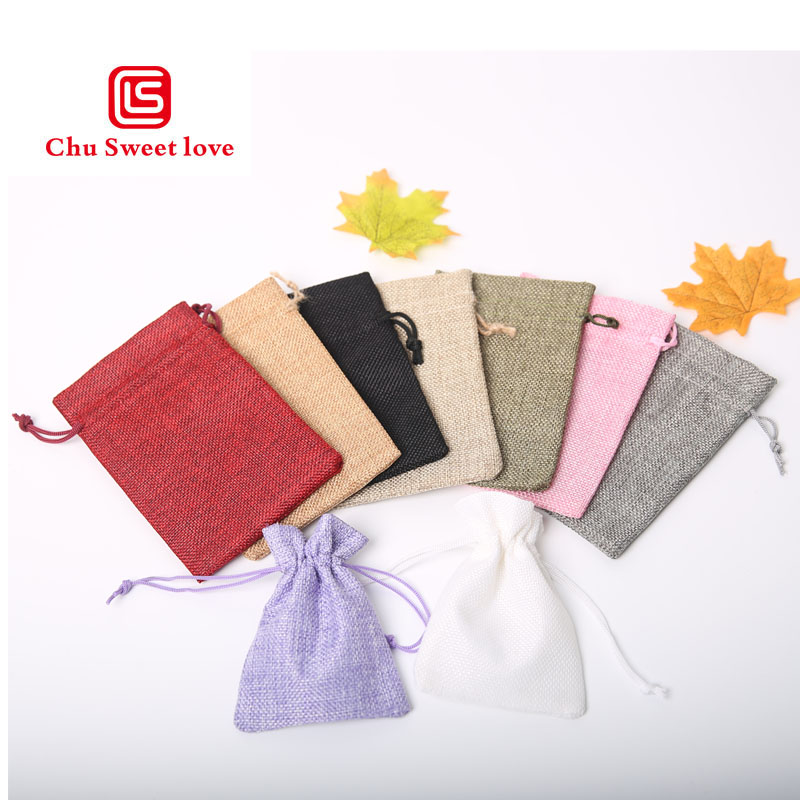 9 * 12cm Imitation Linen Bunch Pocket Wedding Holiday Christmas Gift Bag Jewelry Nut Linen Bag 100pcs