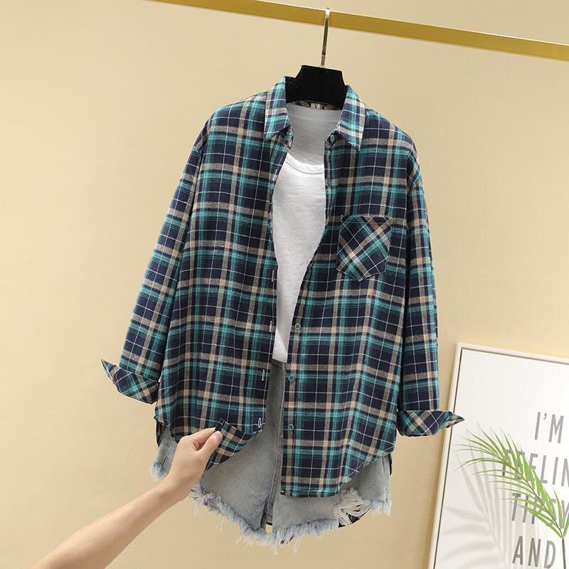 Women Spring Summer Style Blouses Shirts Lady Casual Long Sleeve Turn-down Collar Plaid Printed Blusas Tops ZZ0750 9