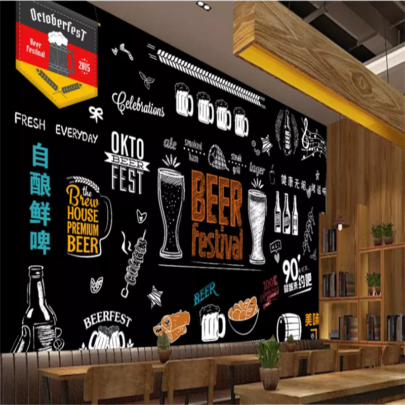 Personality Hand-painted Blackboard Beer Barbecue Restaurant Background Wall Paper Bar Club Industrial Decor Mural Wallpaper 3D