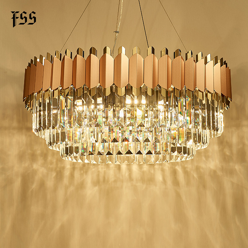 FSS Modern Crystal Rose Gold Rectangle Chandelier Lighting For Dining Room Bedroom Round Chandeliers Living Room