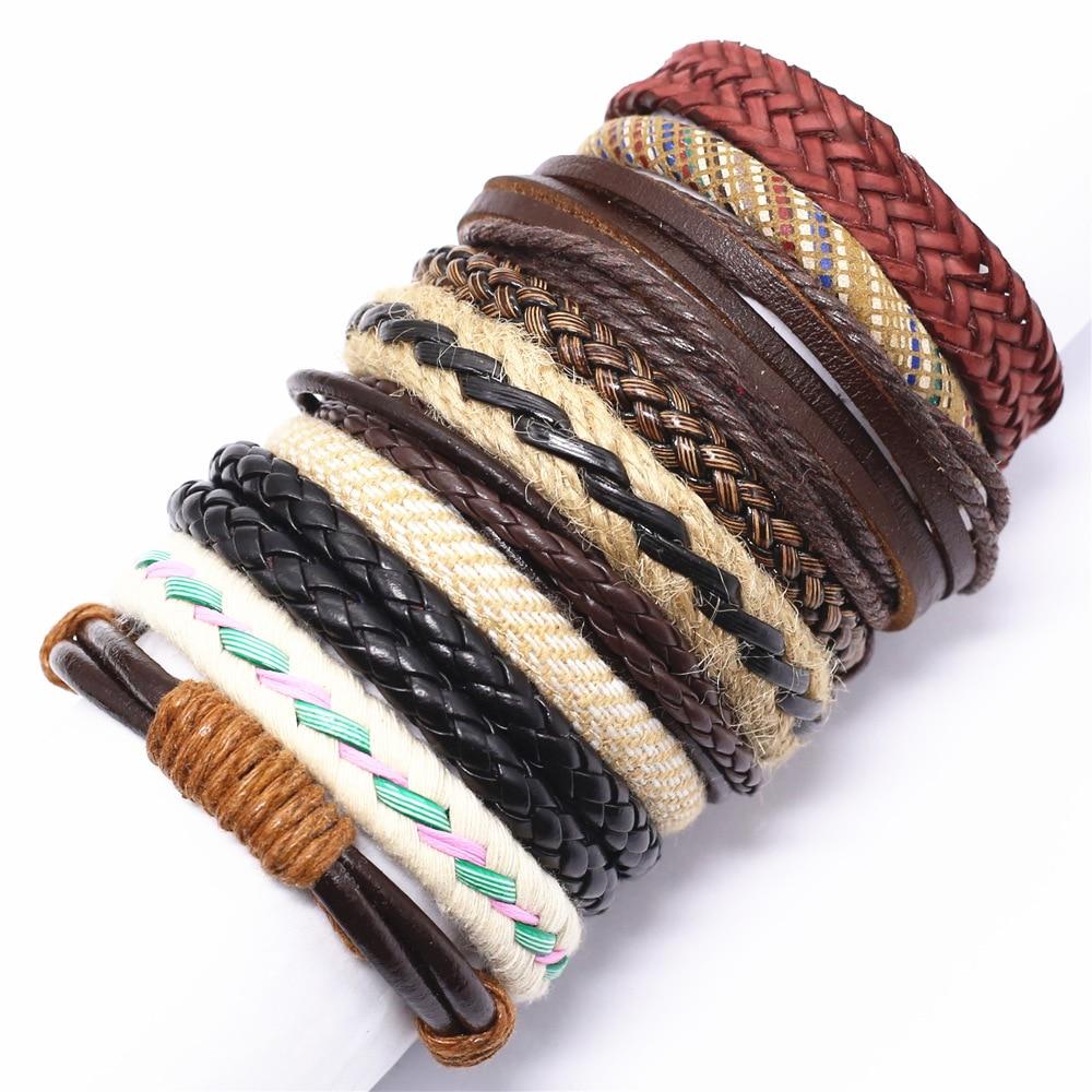 10 Pcs/set Weave Wrap Leather Men Bracelets for Women Bangles Femme Homme Male Jewelry Pulsera Hombre Erkek Bileklik Wholesale