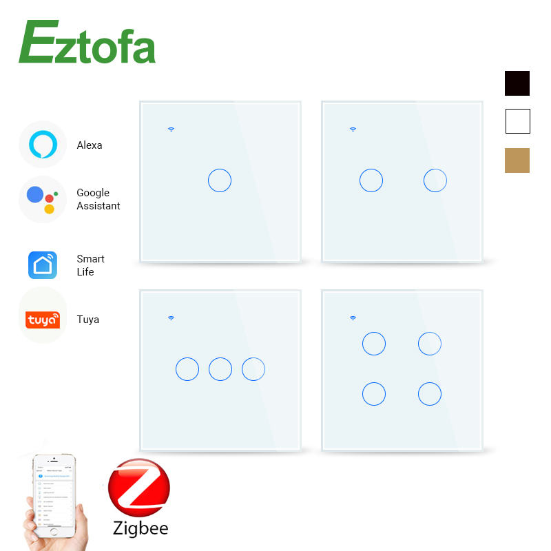 ZigBee Smart Home Wifi Wall Touch Wwitch,2/3 Way, Tempered Glass Panel Whole House Light Control SwitchAC85-240V,1/2/3/4 Gang