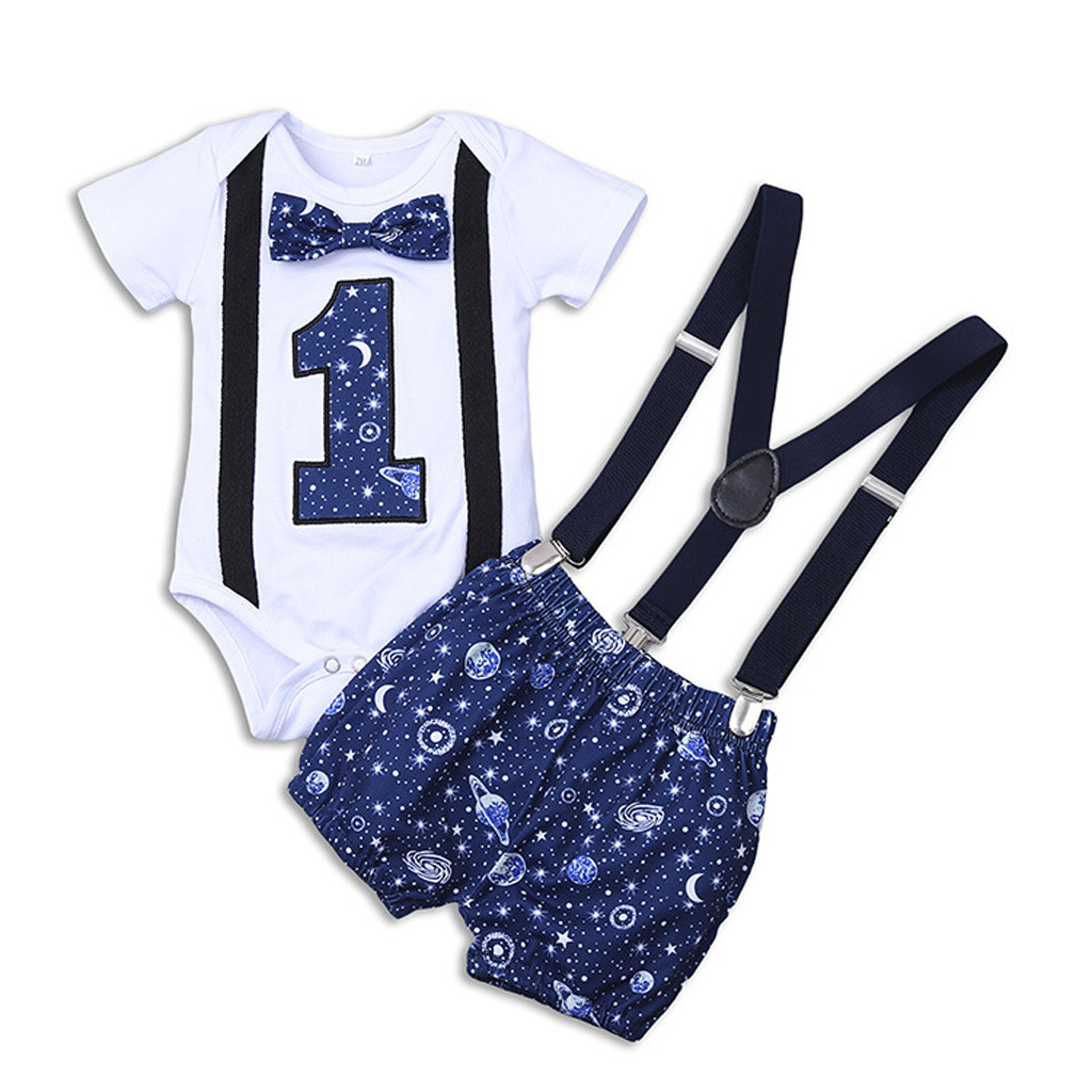 2PCS Baby Boy Short Sleeve Romper Bow Tie 1st Birthday belt Pants Outfit Clothes