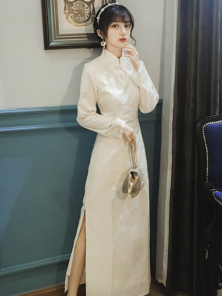 Spring And Autumn French Vintage Embroidery Cheongsam Improved Version Dress Nian Qing Kuan GIRL'S Long Elegant Underwear Evenin