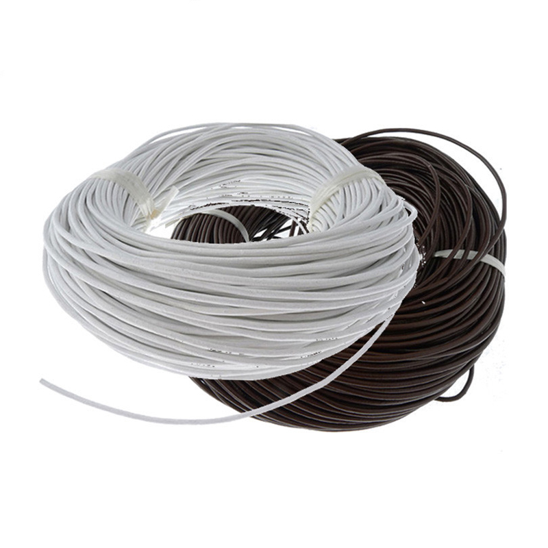20m/lot 2mm Diameter Genuine Round Cow Leather Cord  Silver Round Real Leather Cord DIY Accessories Component