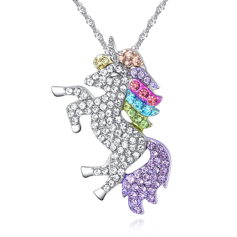 Europe And America New Style Accessories Unicorn Pony Children's Day Color Unicorn Necklace Pendant Manufacturers Direct Selling