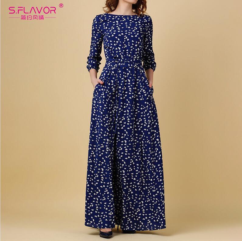 S.FLAVOR Vintage Print Long Dress Women Casual Three Quarter Sleeve Party Dress Elegant O Neck Ladies Maxi Vestidos No Pockets