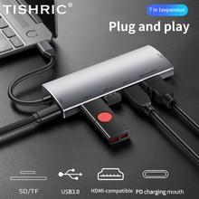 Tishric usb3.1 tipo c hub usb c para multi usb 3.0 hub 4k hdmi compatível com vga sd rj45 adaptador lan para macbook pro huawei