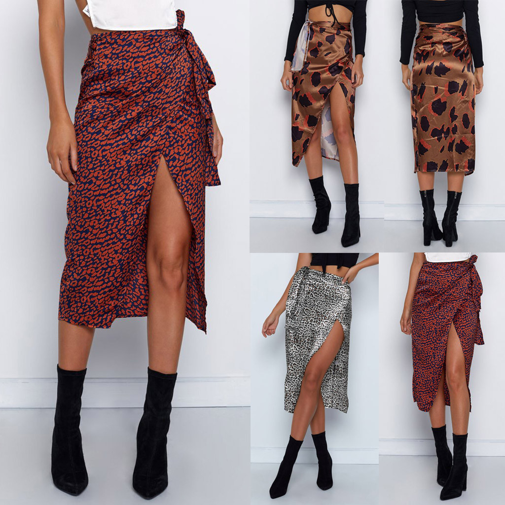 Female High Waist Bandage Leopard Printing Wrap Satin Bow Sexy Split Skirts Faldas Mujer Moda юбки женские кожаная юбка