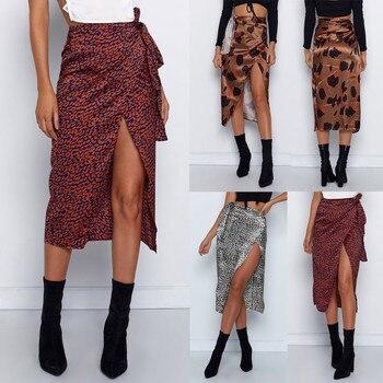 Female High Waist Bandage Leopard Printing Wrap Satin Bow Sexy Split Skirts faldas mujer moda юбки женские кожаная юбка