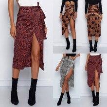 Female High Waist Bandage Leopard Printing Wrap Satin Bow Sexy Split Skirts fald
