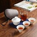 Высококачественный портативный чайный набор  включает 3 чайных чашки  1 гайвань  1 мешок  китайская дорожная белая фарфоровая чайная чашка ку...