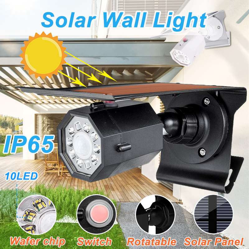 10 LED Simulation Camera Solar Light Outdoor Motion Sensor Night Security Wall Lamp Waterproof Garden Front Door Yard