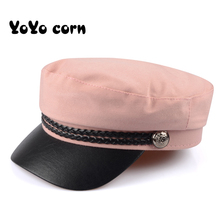 YOYOCORN Fashion PU Leather Military Hat Autumn Sailor Hat For Women Men Black Grey flat top Female travel cadet hat Captain Cap fashion alloy buttons embellished military hat for men