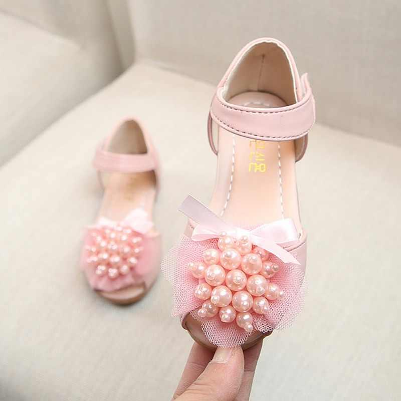 เด็กทารกเด็กผู้หญิงฤดูร้อนรองเท้าแตะนุ่ม Soled ดอกไม้มุกออกแบบรองเท้าแตะ Breathable Anti-slip รองเท้า 1-5Y