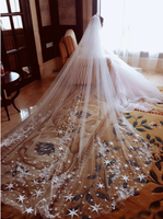 Bridal Veils 2020 New Cathedral Length with Free Combs Shoulder Length Veil White Ivory Lace Appliques Crystal Wedding Veils