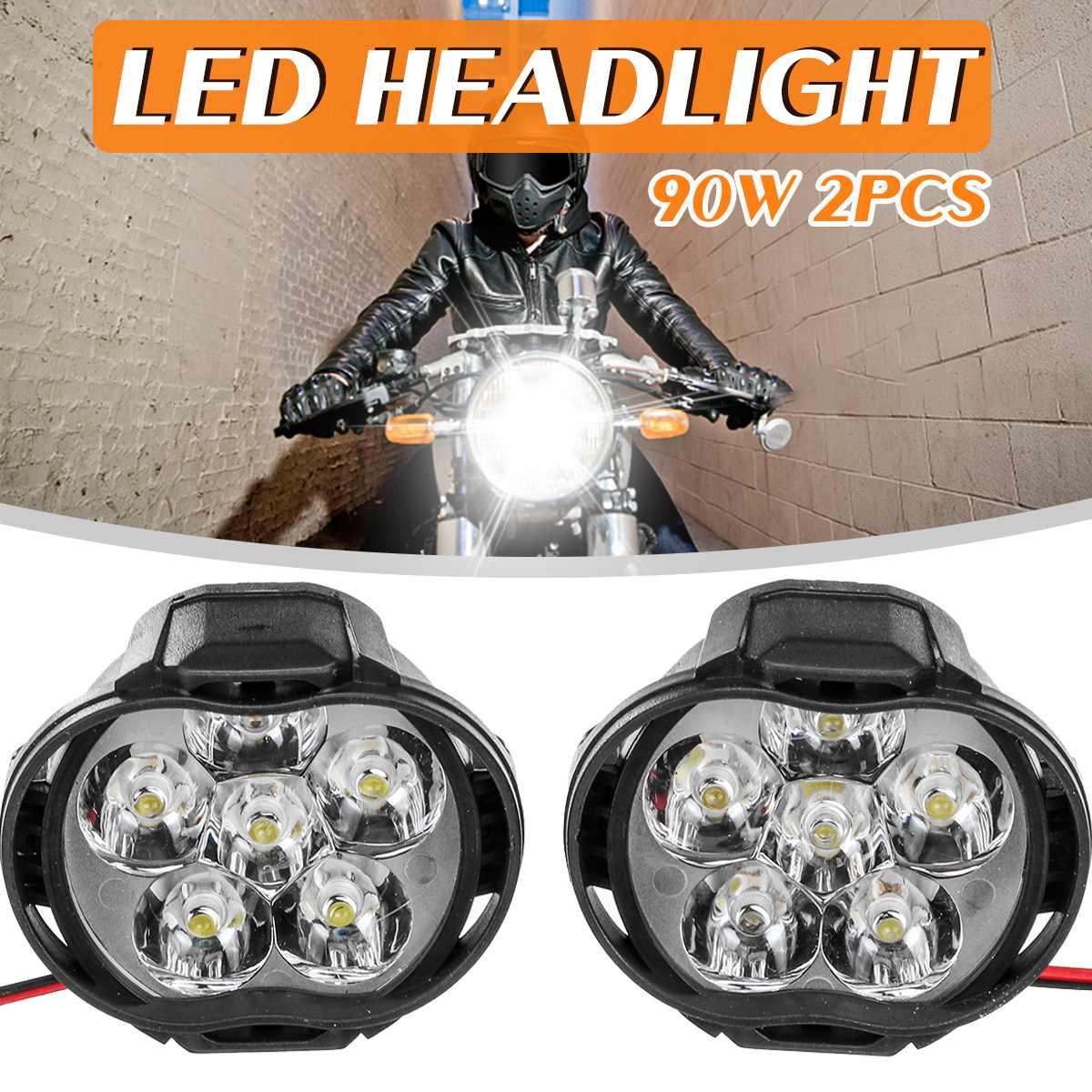2pcs 4/6/9 LED Fog Spot Head Light Lamp 10W Black Motorcycle Headlights Motorbike Driving Fog Spot Ligh+ Switch 50000H Life