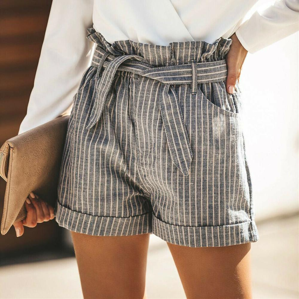Women Summer Striped Shorts Fashion High Waist Trouser Holiday Beach Drawstring High Waist Casual Loose Hot Shorts