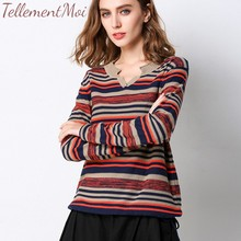 Casual Knitted Sweater Women Streetwear V Neck Long Sleeve Pullovers Loose Striped Sweaters 2019 Autumn Winter Fashion Plus Size цена в Москве и Питере