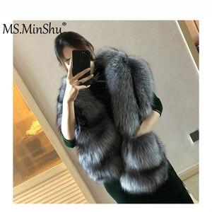 Image 1 - MS.MinShu bufanda de piel de zorro grande de lujo piel de zorro Natural estola piel auténtica de zorro chal de bolsillo Vestidos de Noche de moda