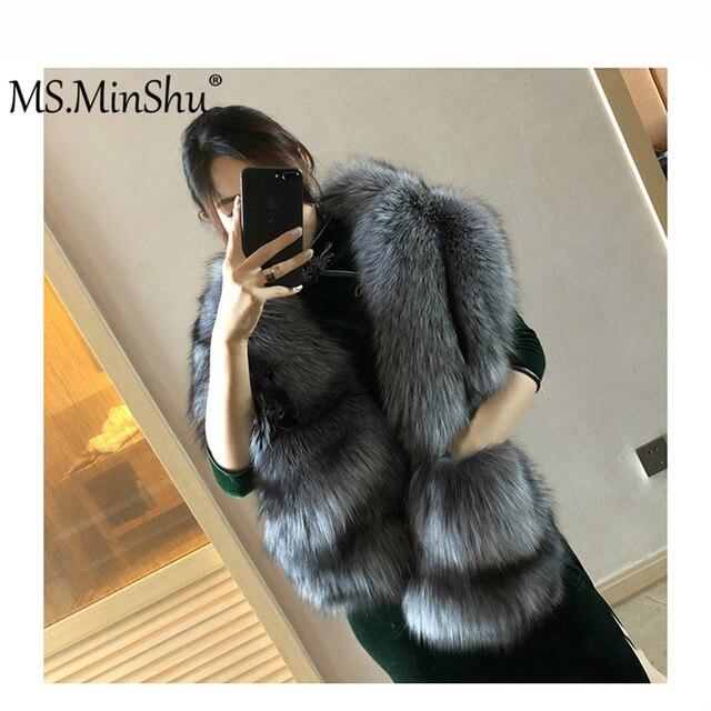 MS.MinShu bufanda de piel de zorro grande de lujo piel de zorro Natural estola piel auténtica de zorro chal de bolsillo Vestidos de Noche de moda