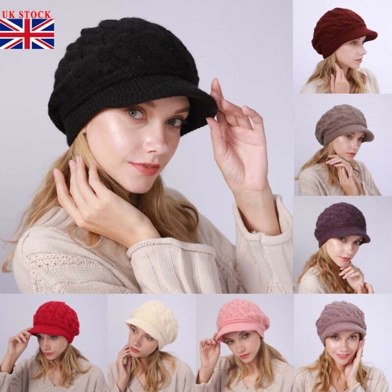 Women Ladies Winter Warm Knit Hat Crochet Slouchy Baggy Peaked Beanie Caps UK