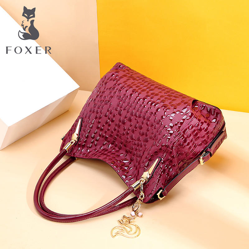 FOXER Winy Leather Women Shoulder Bag Red